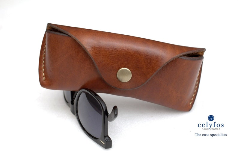 671ee0651725 Leather glasses case vegetable tan eyeglass case for RayBan