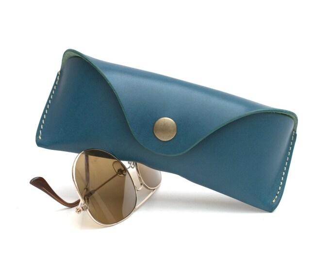 Vegetable tanned Bridle Leather glasses Case Aqua
