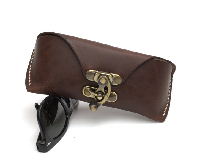 Leather glasses case steampunk