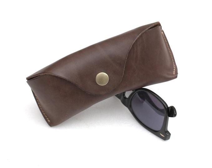 Waxed leather Sunglasses Case espresso brown