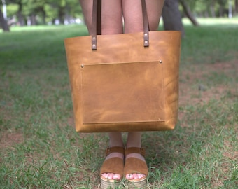Leather tote bag for women, tote bag with zipper, laptop bag, student bag, monogrammed