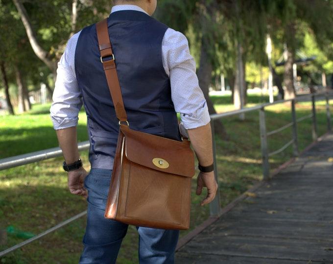 Messenger bag men leather Crossbody Satchel bag vintage brown