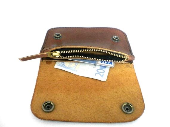 Celyfos ® Handmade Leather Biker Wallet Italian leather brown Slim