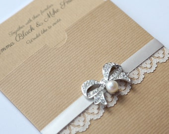 Rustic Kraft Wallet Invitation with Lace & Bow Brooch