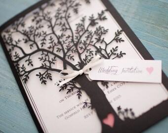 Lasercut Tree Invitation - Black x25