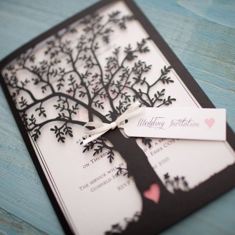 Blank Diy Laser Cut Tree Wedding Invitation Black Etsy