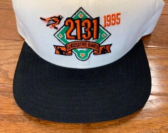 wholesale dealer 84ca2 02055 Deadstock Vintage 1990s New Era Hat Cap Snapback Baltimore Orioles Cal  Ripken Jr