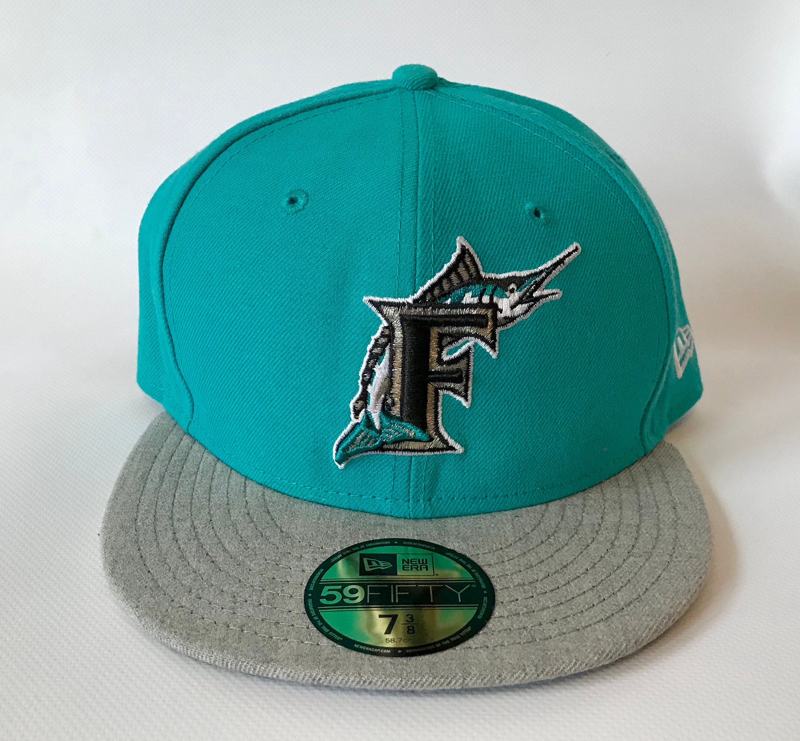 Miami Marlins New Era Fitted Hats - Parchment N Lead a82eb5ed27ad