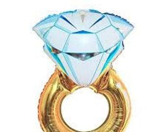 "Giant Ring Balloon - 37"" Mylar Balloon - Engagement Party Decor - Bachelorette Party Decor - Gold Diamond Ring Decor - Bridal Shower Balloon"