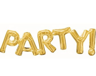 Gold PARTY! Balloon - Birthday Party Decor - Bachelorette Party Decor - Smash Cake Photo Prop - Letter Balloon - Birthday Balloon