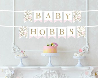 Custom Baby Name Printed Banner - Pink and Gold Baby Shower Decor - Nursery Banner - Nursery Decor - New Baby Announcement -Custom Last Name
