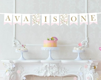 Custom Name and Age Printed Banner - First Birthday Banner - Smash Cake Banner - Pink and Gold Birthday Banner - Smash Cake Photo Banner
