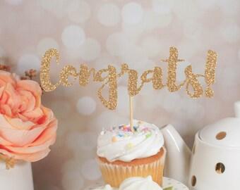Congrats Cake Topper - Glitter Cake Topper - Congratulations - Party Decor - Event Decor - Graduation Party - Retirement Party