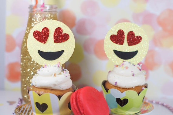 Emoji Cupcake Toppers Valentinstag Cupcake Toppers Herz Etsy