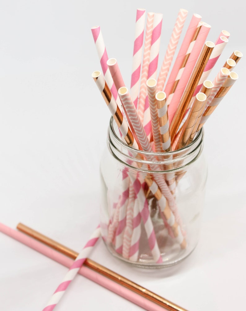Pink White and Rose Gold Party Straws Cake Pop Sticks Bridal Shower Girl/'s Birthday Pink and Rose Gold Decor Paper Party Straws
