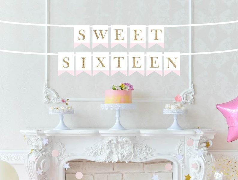 Sweet Sixteen Banner Sweet 16 Birthday Decor Happy Sweet Etsy