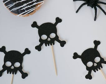 Skull Cupcake Toppers - Set of 12 - Halloween Party Decor - Halloween Cupcake Toppers - Happy Halloween - Halloween Birthday Topper