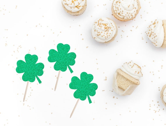 Irish Clover 4 Leaf Clover Cup Cake Topper 12 x Lucky four St Patrick/'s Day