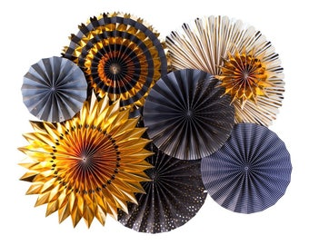 New Year's Eve Paper Party Fans - Set of 8 - Black and Gold Paper Party Fans - Black Tie Event Decor - Little Man Theme - Smash Cake Prop