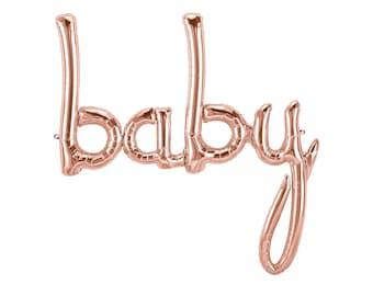 Baby Script Balloon - Baby Shower Decor - Baby Announcement - Smash Cake Photo Prop - Letter Balloon - Gender Reveal Decor - First Birthday