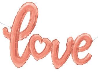Love Script Balloon - Bridal Shower Decor - Wedding Decor - Engagement Decor - Bachelorette Decor - Bridal Photo Prop - Foil Letter Balloon