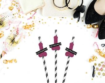 Bachelorette Party Straws - Set of 12 - Funny Party Straws - Paper Party Straws - Straws - Penis Party Straws - Bachelorette Decor