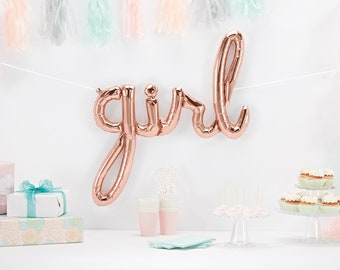 Girl Script Balloon - Baby Shower Decor - Baby Announcement - Smash Cake Photo Prop - Letter Balloon - Gender Reveal Decor - First Birthday