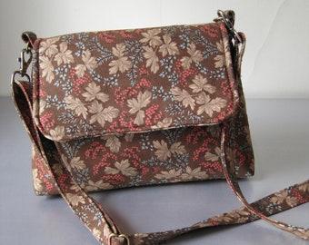 Handbag, Brown, Leaf Pattern, Shoulder bag, Purse, Fabric, Handmade, Mini Messenger Bag, Women Girls Accessories, Adjustable Strap, Compact
