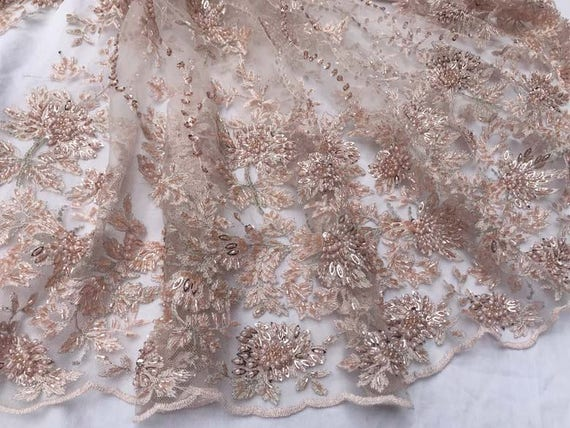 Pink Heavy Bead Lace Fabric Heavy Embroidered Lace Fabric Etsy