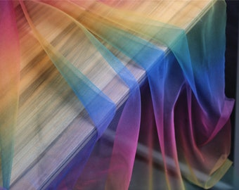 Tulle fabric with Gradient colors, rainbow mesh lace fabric