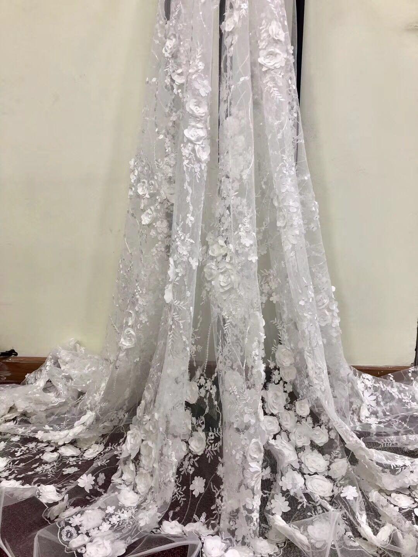 tissu de dentelle perle dentelle lourde 3d blanc, tissu dentelle perle Français, 3d floral dentelle pour robe de mariée, robes de bal, perles 3d dentelle tissu bleu 6e4fd2