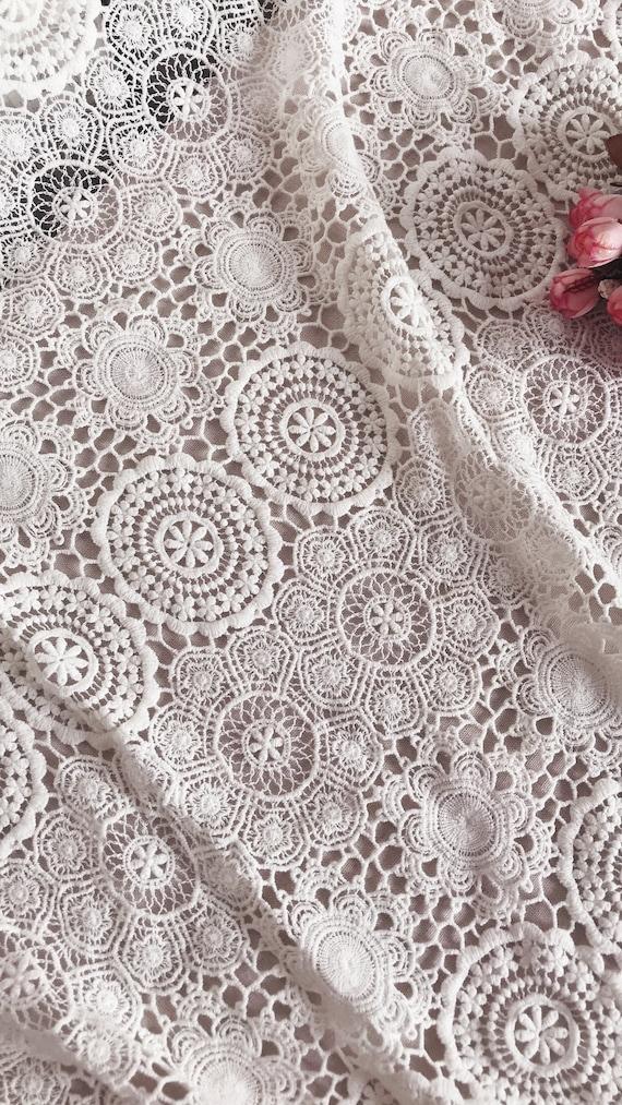 tissu dentelle de coton blanc avec daisy, tissu de dentelle coton guipure 100 % coton dentelle par yard 7d3519