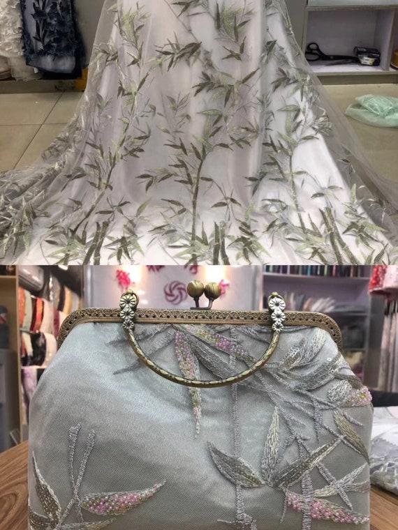 Paillettes tissu haut de gamme bambou feuille dentelle Tulle maille dentelle feuille dentelle Ivoire, voiles à lacets tissu pour Cap en Tulle, housse de mariée f68377