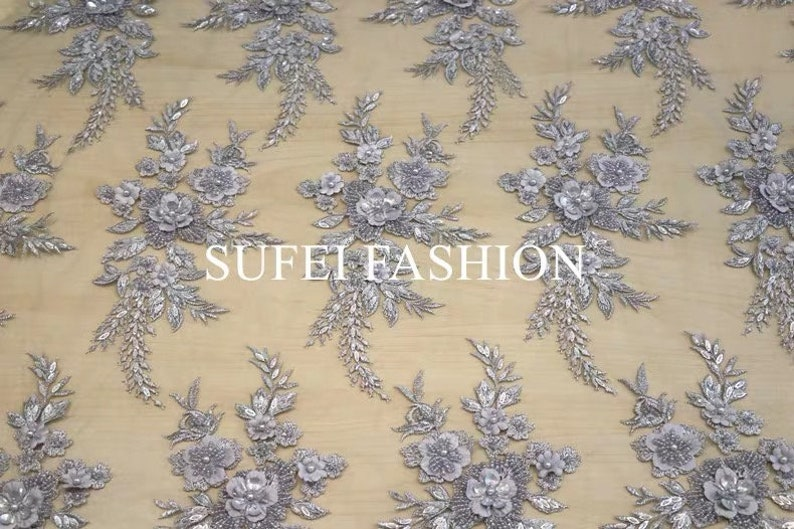 grey  pearl beading lace fabric by the yard heavy bead lace fabric light blue French 3D lace fabric with 3d flowers