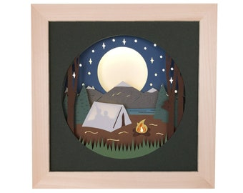Camping Shadow Box SVG Papercut Template 3D, Forest Shadow Box and Light Box Svg, Layered Paper Cut Template for Hand or Machine Cutting
