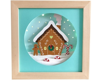 Gingerbread House Christmas shadow box svg for cricut or silhouette machines, 3D Papercut template for hand cutting, DIY craft kits download