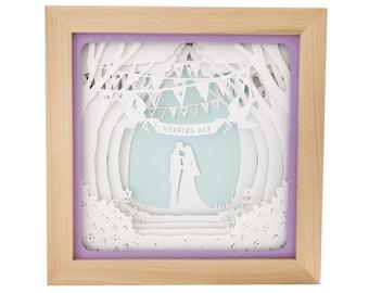 Wedding Couple Shadow Box SVG template , First Anniversary Layered Paper Cut Template 3D, Wedding Frame Paper Cut Craft Template