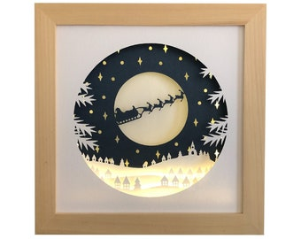 Christmas village shadow box svg for cricut or silhouette machines, 3D Papercut template for hand cutting, DIY craft kits download