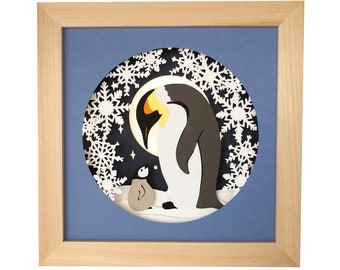Penguin Paper Craft Template, 3D Layered Paper Cut Shadow Box SVG
