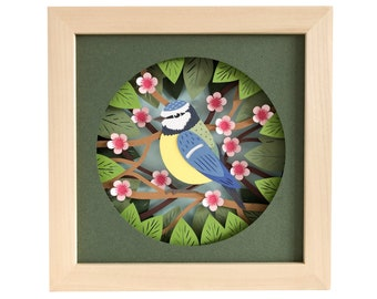 Blue Tit Garden Bird Shadow Box SVG Papercut Template 3D, Pdf for Hand Cutting, Dxf Eps Svg Template Files for Machine Cutting