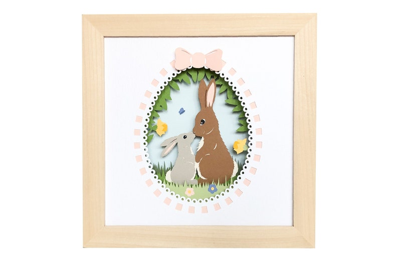 Easter bunny rabbit shadow box svg for cricut or silhouette image 0