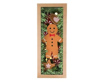 Gingerbread man book nook diorama shadow box svg for cricut or cameo, Christmas papercut template for hand cutting, DIY craft kit download