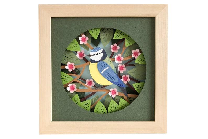 Blue Tit Garden Bird Shadow Box SVG Papercut Template 3D Pdf image 0