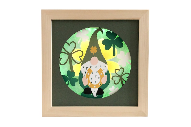 Gnome shadow box St Patrick's Day svg for cricut or image 0