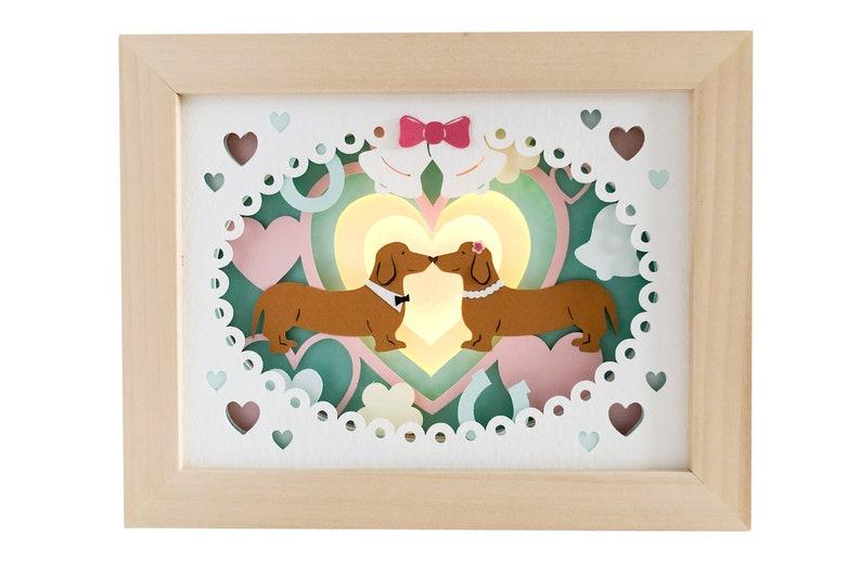 Sausage dog shadow box wedding svg for cricut or silhouette image 0