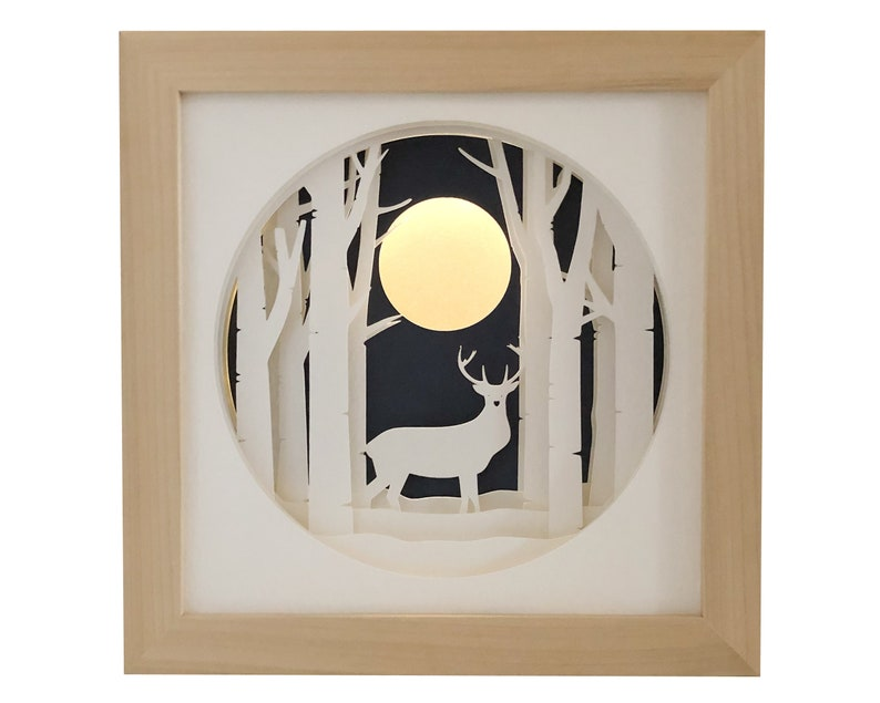 Stag Deer Shadow Box SVG Papercut Template 3D Woodland Shadow image 0