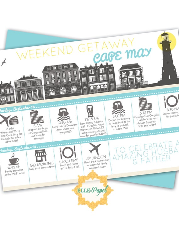 Printable Itinerary For A Weekend Getaway Couples Getaway Etsy