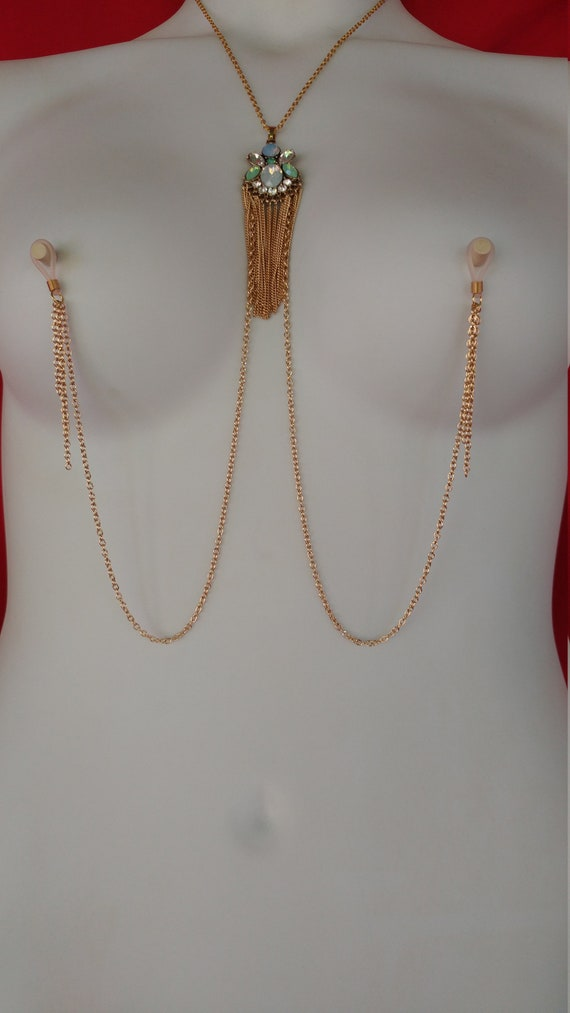 Gold Nipple clamps with Black chain Tweezer Non piercing chain to nipple