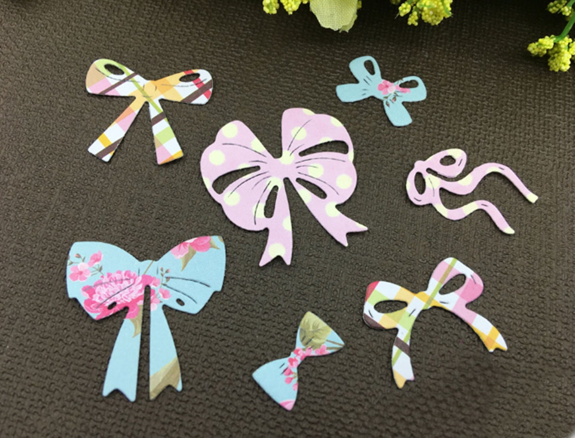 7pcs bow cutting dies stencil scrapbook album paper embossing craft diy RD