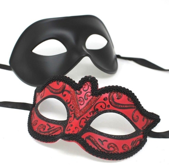 Black Pair of Male and Female Masquerade Masks